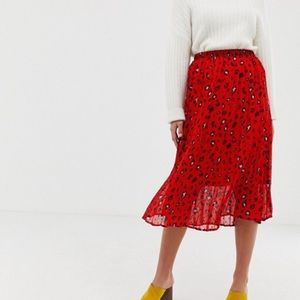 ASOS red leopard print pleated skirt